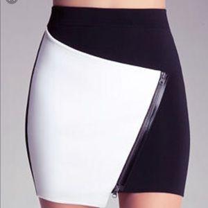 Bebe Asymmetrical Zip Skirt